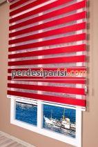 Lüx Kırmızı Düz Zebra Perde