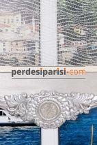 Cemre - Rodos Gümüş Varaklı Çiftli Stor Perde