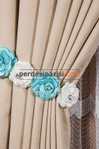 Mint-Beyaz Çiçekli Braçol