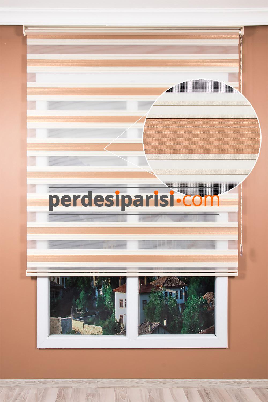 Promosyonel Bej Simli Plise Zebra Perde (150x200)