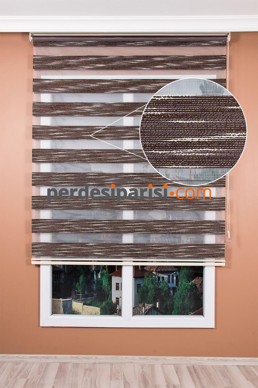 Promosyonel Kahve Krem Sim Örgülü Zebra Perde (150x200)