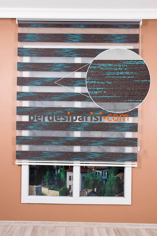 Promosyonel Kahve Turkuaz Sim Örgülü Zebra Perde (150x200)