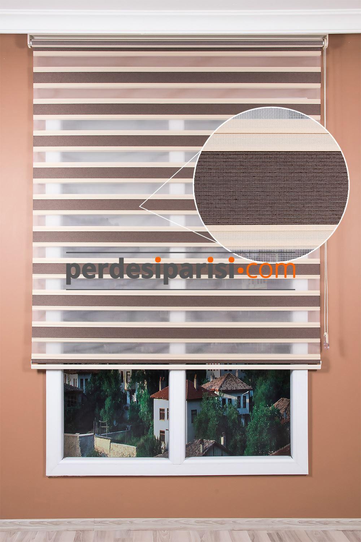 Promosyonel Vizon Krem Yarım Plise Zebra Perde (150x200)
