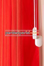 Beyaz-Kırmızı Çizgili Tül Dikey Perde