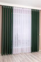 Beyaz-Orman Yeşili Çizgili Tül Dikey Perde
