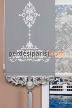 Çiçekli Çiftli Stor Perde - Gümüş Varaklı