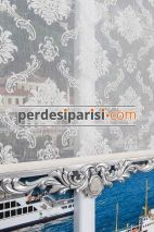 Damask Çiftli Stor Perde - Gümüş Varaklı