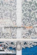 Sarmaşık Çiftli Stor Perde - Gümüş Varaklı
