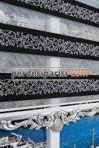 Siyah Jakar Zebra Perde - Gümüş Varaklı