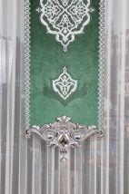 Yeşil Kadife Varaklı Japon Fon Perde