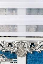 Beyaz Dar Plise Zebra Perde - Gümüş Varaklı