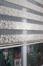 Ekruya Gümüş Simli Şal Zebra Perde