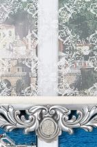Yasemin Çiftli Stor Perde - Gümüş Varaklı