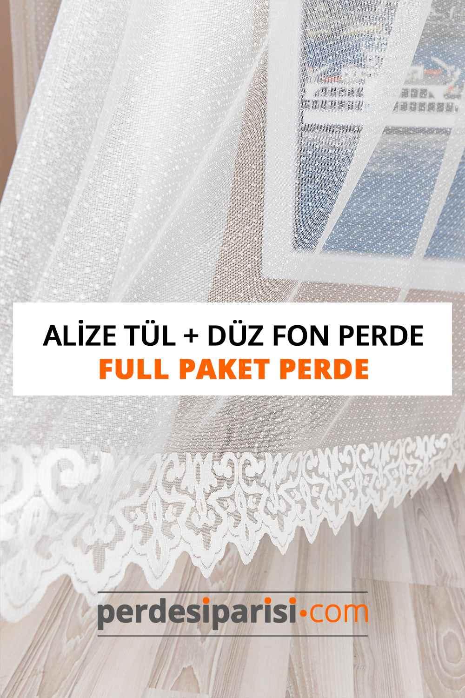 Alize Örme Tül + Düz Fon Perde (Full Paket)