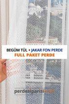 Begüm Örme Tül + Jakar Fon Perde (Full Paket)