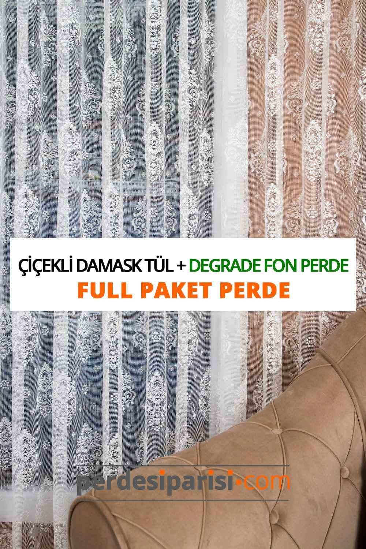 Çiçekli Damask Tül + Degrade Fon Perde (Full Paket)