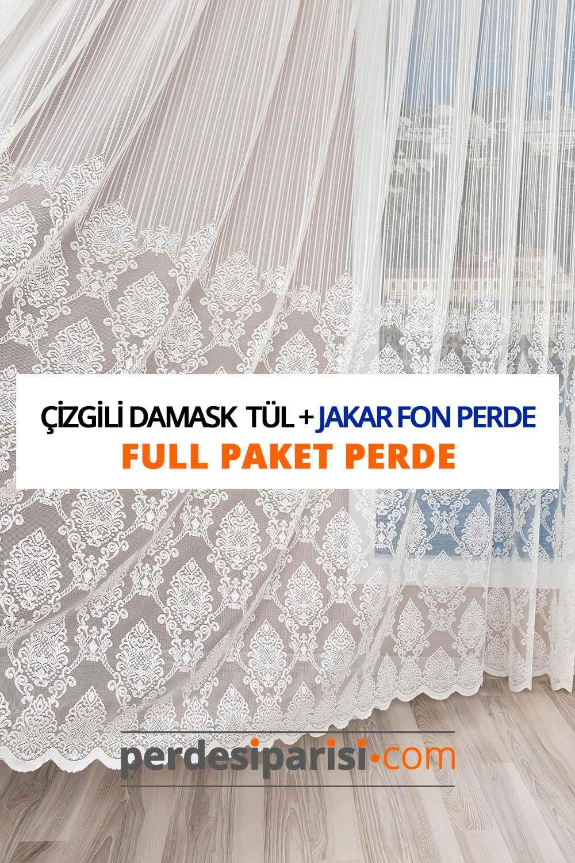 Çizgili Damask Kdk Tül + Jakar Fon Perde (Full Paket)