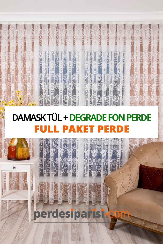 Damask Örme Tül + Degrade Fon Perde (Full Paket)