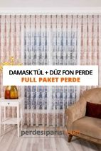 Damask Örme Tül + Düz Fon Perde (Full Paket)