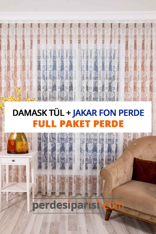 Damask Örme Tül + Jakar Fon Perde (Full Paket)