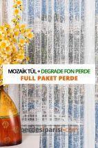 Mozaik Örme Tül + Degrade Fon Perde (Full Paket)