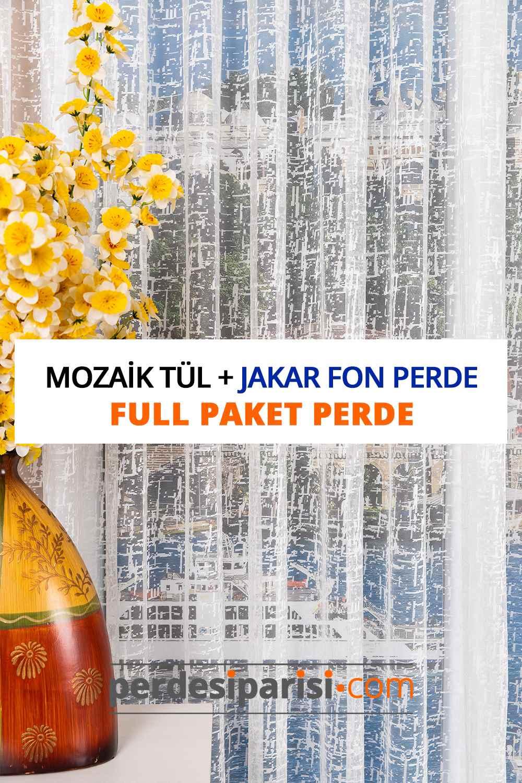 Mozaik Örme Tül + Jakar Fon Perde (Full Paket)