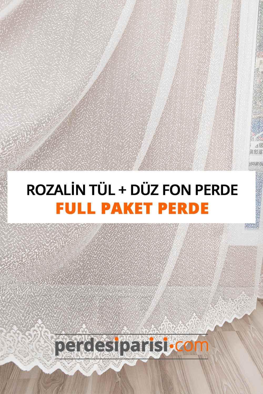 Rozalin Örme Tül + Düz Fon Perde (Full Paket)