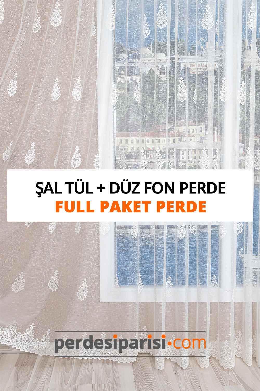 Şal Desen Örme Tül + Düz Fon Perde (Full Paket)