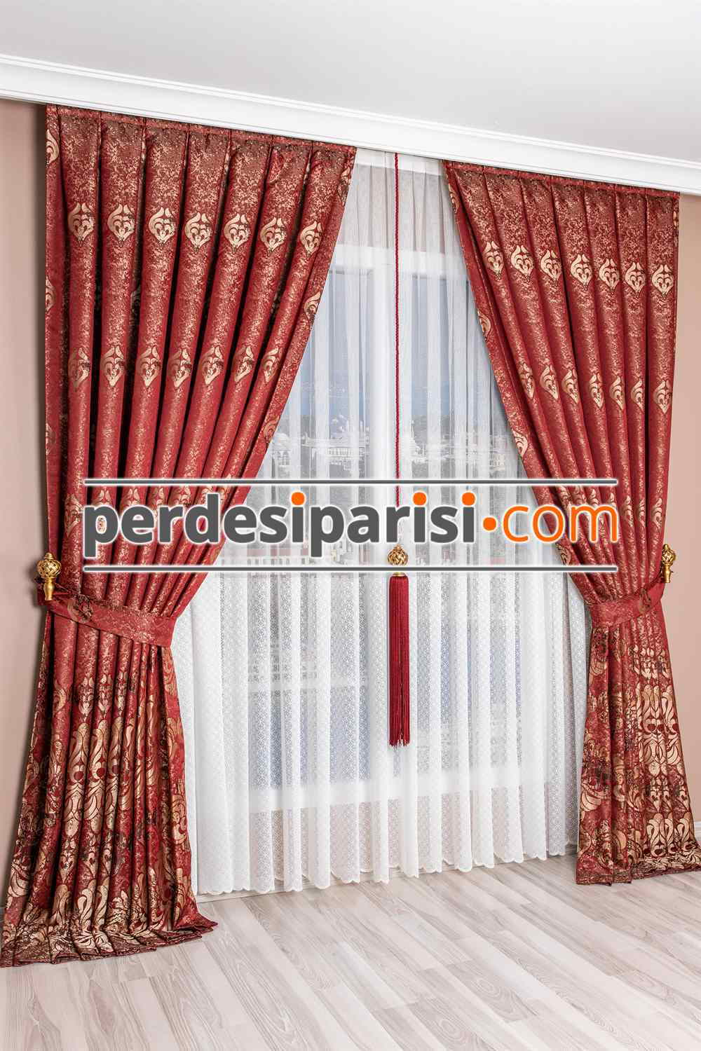 Bordo Damask Pano Fon Perde