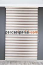 Ekru Bej Renk Geçişli Bambu Zebra Perde