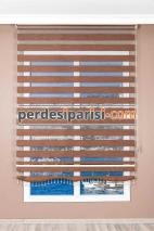 İpeksi Kızıl Bej Bambu Zebra Perde