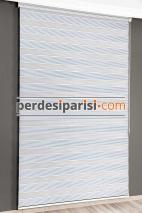 Mavi Şönil Simli Zebra Perde