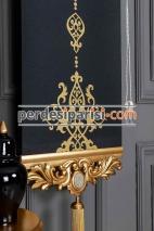Altın Varaklı Damask Siyah Stor Fon Perde