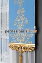 Altın Varaklı Mavi Stor Fon Perde