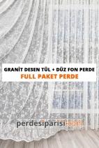 Granit Desen Tül + Düz Fon Perde (Full Paket)