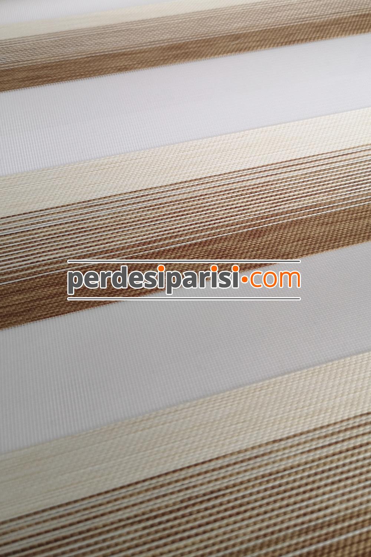 Mabel Bej Çizgili Bambu Zebra Perde