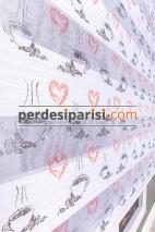 Kalpli Fincan Baskılı Plise Zebra Perde