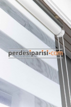 Aria Beyaz Çizgili Mikro Plise Zebra Perde
