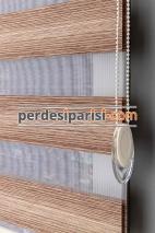 Fiona Kahverengi Çizgili Bambu Zebra Perde