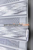 Star Antrasit Gümüş Simli Plise Zebra Perde